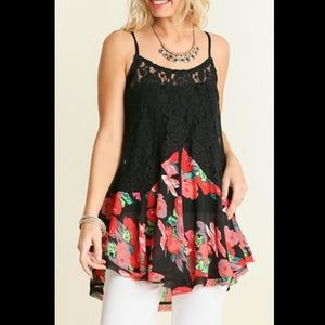 Umgee Tops - Umgee Sheer Lace&Floral Drop Waist Camisole Tunic